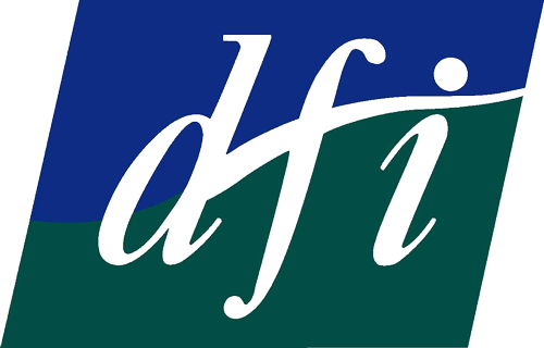 The logo for DFI has an italic font with dark blue and green surrounding it in a rectangle.