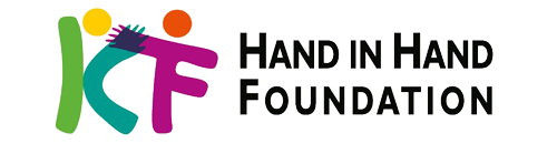 hand in hand foundation logo is words with a simple design of colourful stick people