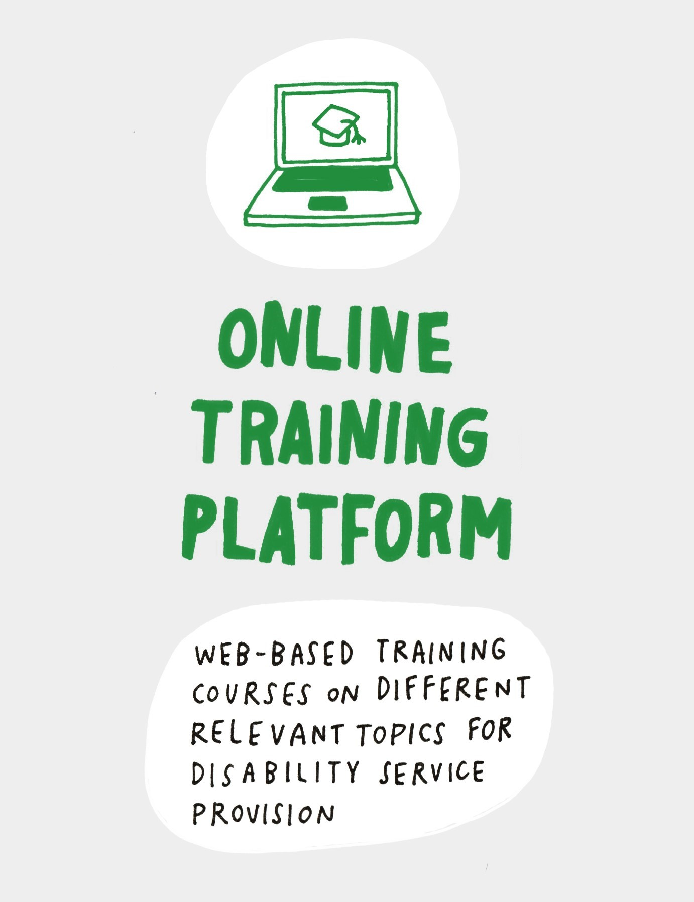 On-line training platform: web-based training courses on different relevant topics for disability service provision