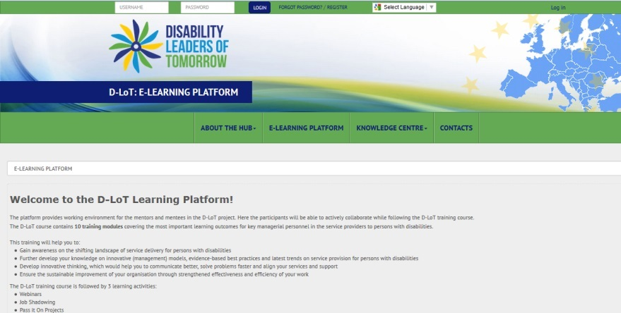 Screenshot of the E-Learning Platform home page