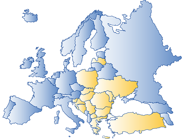 A map of Europe outlining the project partners from Central and Eastern Europe