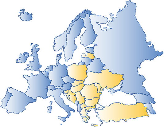 Picture of the map of Europe, featuring the 15 countries involved in the D-LoT project